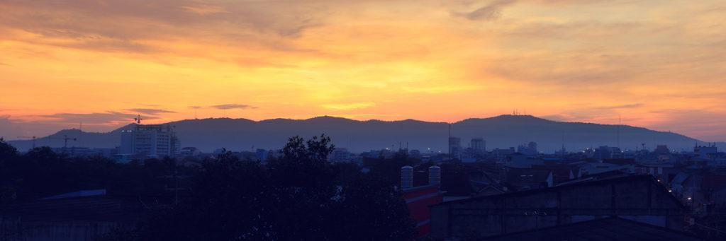 Scenic mountain sunrise over Hat Yai city